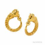 18kt Gold Hoop Earclips, Lalaounis, Greece (Lot 1007, Estimate $600-800)