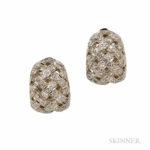 Platinum and Diamond 'Huggie' Earrings, Tiffany & Co. (Lot 1023, Estimate $1,500-2,000)