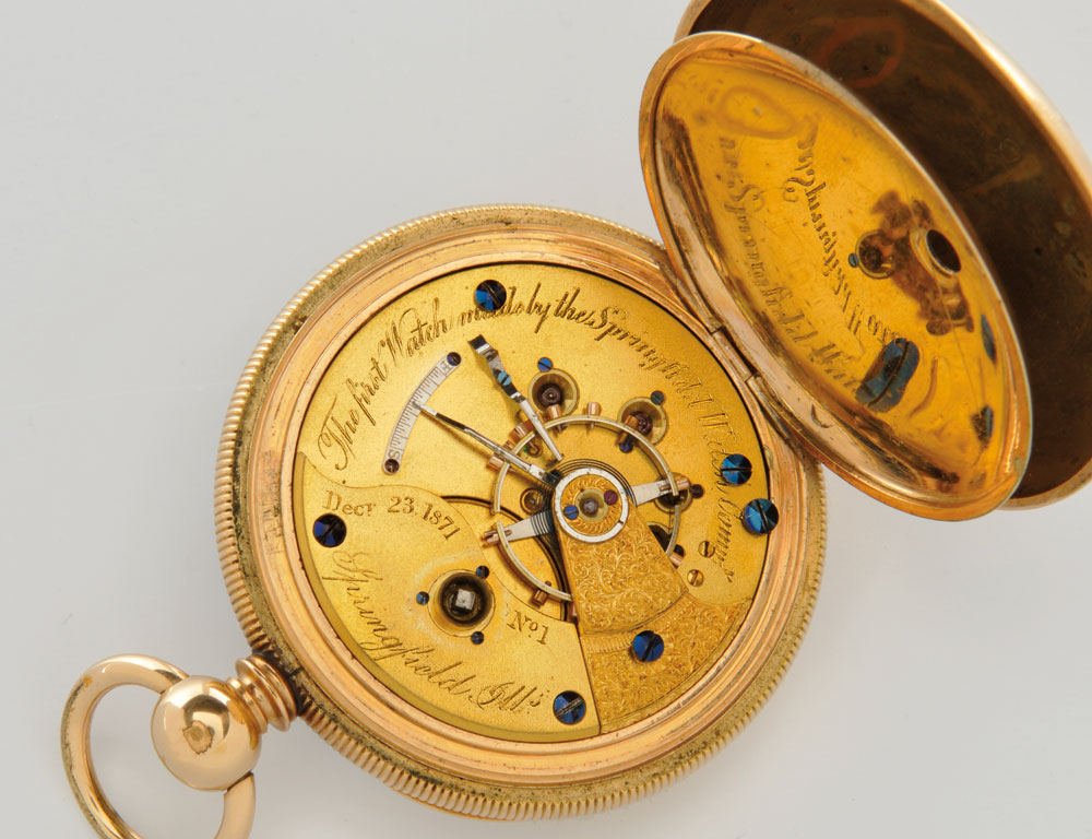 Illinois Springfield Watch Company No. 1 Open-face Watch, Springfield, Illinois, 1871 (Lot 91, Estimate $10,000-20,000)