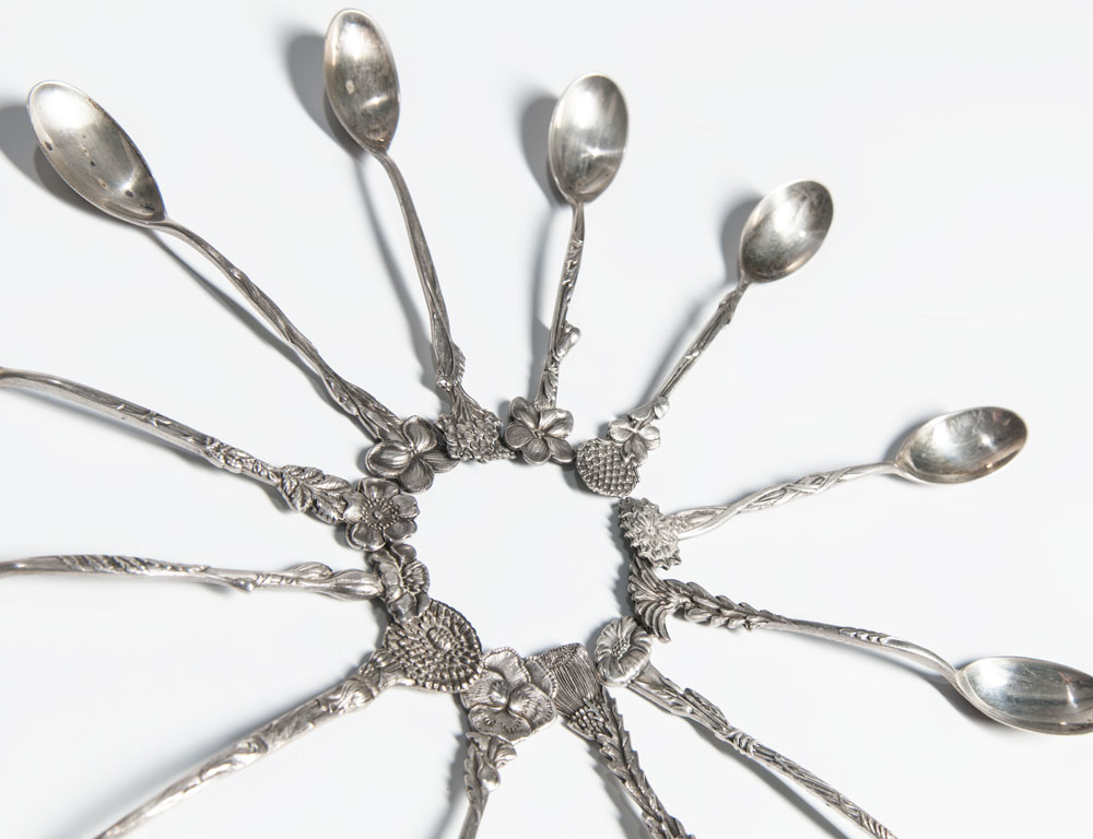 [Detail] Tiffany Sterling Silver Floral, Demitasse Spoons