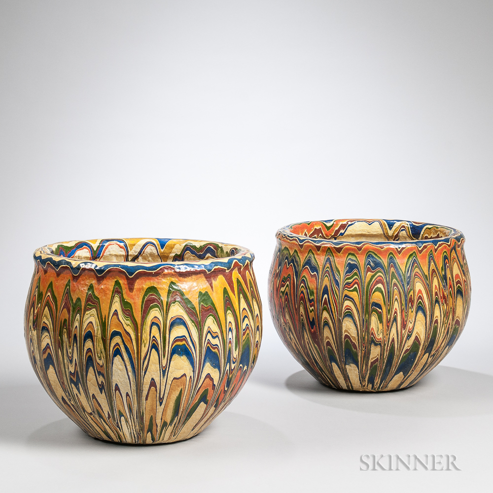 Pair of Marbled Polychrome Pottery Jardinieres, France, 20th century (Lot 1804, Estimate $50-100)