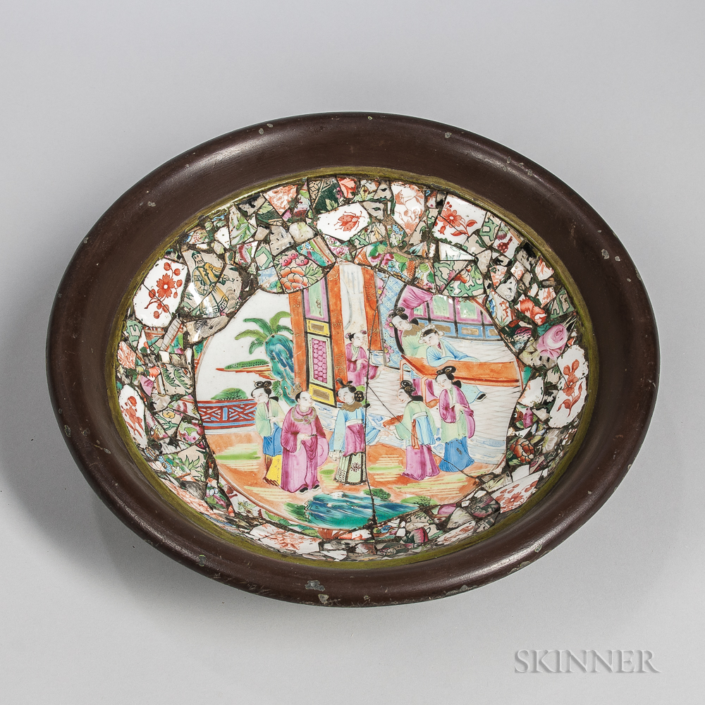 Memoryware Ceramic and Metal Bowl, made with Rose Medallion shards (Lot 1863, Estimate $60-80)