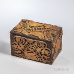 Victorian Carved Walnut and Maple Box (Lot 1865, Estimate $100-200)