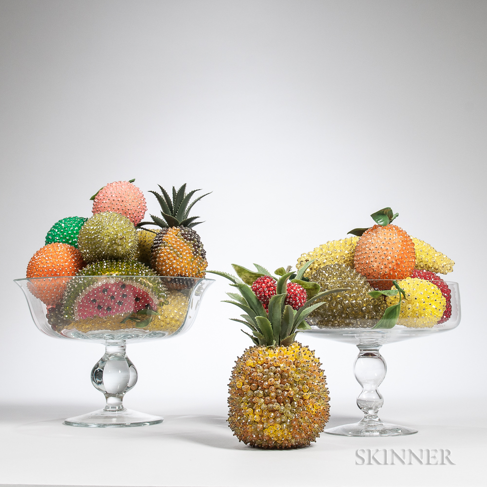 Two Colorless Glass Compotes with Various Beaded Fruit (Lot 1837, Estimate $200-300)