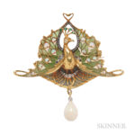 Art Nouveau 18kt Gold, Opal, Diamond, and Enamel Pendant/Brooch, Lucien Gautrait, Estimate: $10,000-15,000