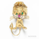 18kt Gold, Emerald, Ruby, and Diamond Lion Brooch
