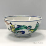 Chinese doucai famille verte bowl with Kangxi mark.