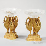 Pair of Russian Empire Rock Crystal-mounted Ormolu Compotes