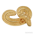 18kt Gold Ram's Head Brooch, Lalaounis, Estimate: $600-800