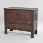The Elizabeth White Hadley Chest, Hadley Massachusetts, area, c. 1718, (Lot 16, Estimate: $40,000-60,000)