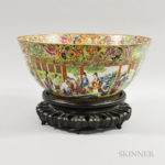 Large Famille Rose Porcelain Punch Bowl with Stand, (Lot 1421, Estimate: $300-500)