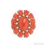18kt Gold, Coral, and Diamond Dome Ring (Lot 278, Estimate: $500-700)