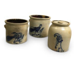 Three Cobalt Bird-decorated Stoneware Crocks (Lot 418, Estimate: $300-500)