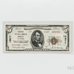 1929 Oilfields National Bank in Brea Type 2 $5 Note (Lot 1508, Estimate: $3,000-5,000)