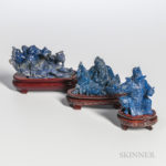 Three Lapis Lazuli Carvings, China, (Lot 1218, Estimate: $200-300).