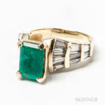 14kt Gold, Emerald, and Diamond Ring (Lot , $2,000-3,000)