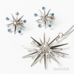 14kt White Gold, Diamond, and Sapphire Starburst Set (Lot 2034, $300-500)