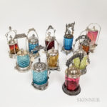 Eleven Silver-plated and Glass Pickle Castors and Ten Tongs (Lot 2435, $150-300)
