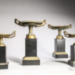 Two Pairs of Cast Bronze Tazza on Stone Plinths (Lot 1026, Estimate: $400-600)