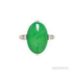 Art Deco Platinum, Jadeite Jade, and Diamond Ring, JE Caldwell (Lot 147, Estimate: $4,000-6,000)