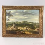 Century French School Hillside Townscape Oil on Canvas (Lot 2025, Estimate: $300-500)
