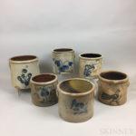 Six Cobalt-decorated Stoneware Crocks (Lot 36, Estimate $600-800)