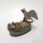 "Polychrome Cast Iron ""Eagle and Eaglets"" Mechanical Bank (Lot 273, Estimate $300-500)"