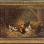 Joseph D. Sorver (American, 19th Century) Chickens Nesting in a Barn (Lot 1084, Estimate: $400-600)