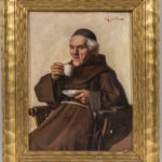 Rodolfo Agresti (Italian, 19th Century) Monk Sipping Espresso (Lot 1125, Estimate: $300-500)