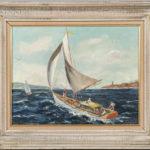 American School, 20th Century, Sailboats (Lot 1160, Estimate: $150-250)