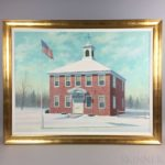 David Kenneth Merrill (American, b. 1935) Brick House with American Flag in Snow (Lot 1272, Estimate: $150-250)