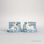 Pair of Wedgwood Solid Blue Jasper Figural Bough Pots (Lot 397, Estimate $3,000-5,000)