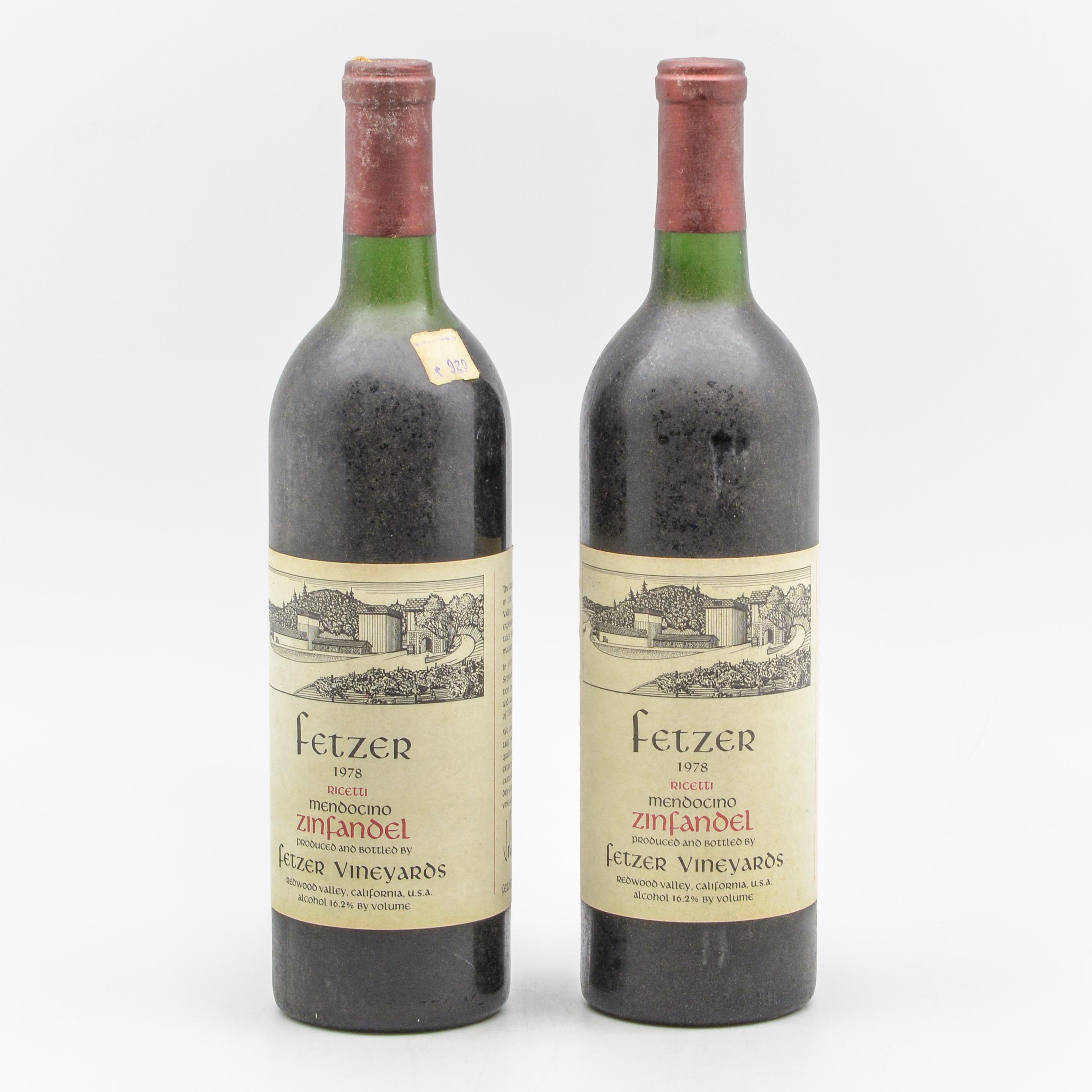 Fetzer Zinfandel 1978  Mendocino, 2 bottles (Lot 1470, Estimate: $30-40)