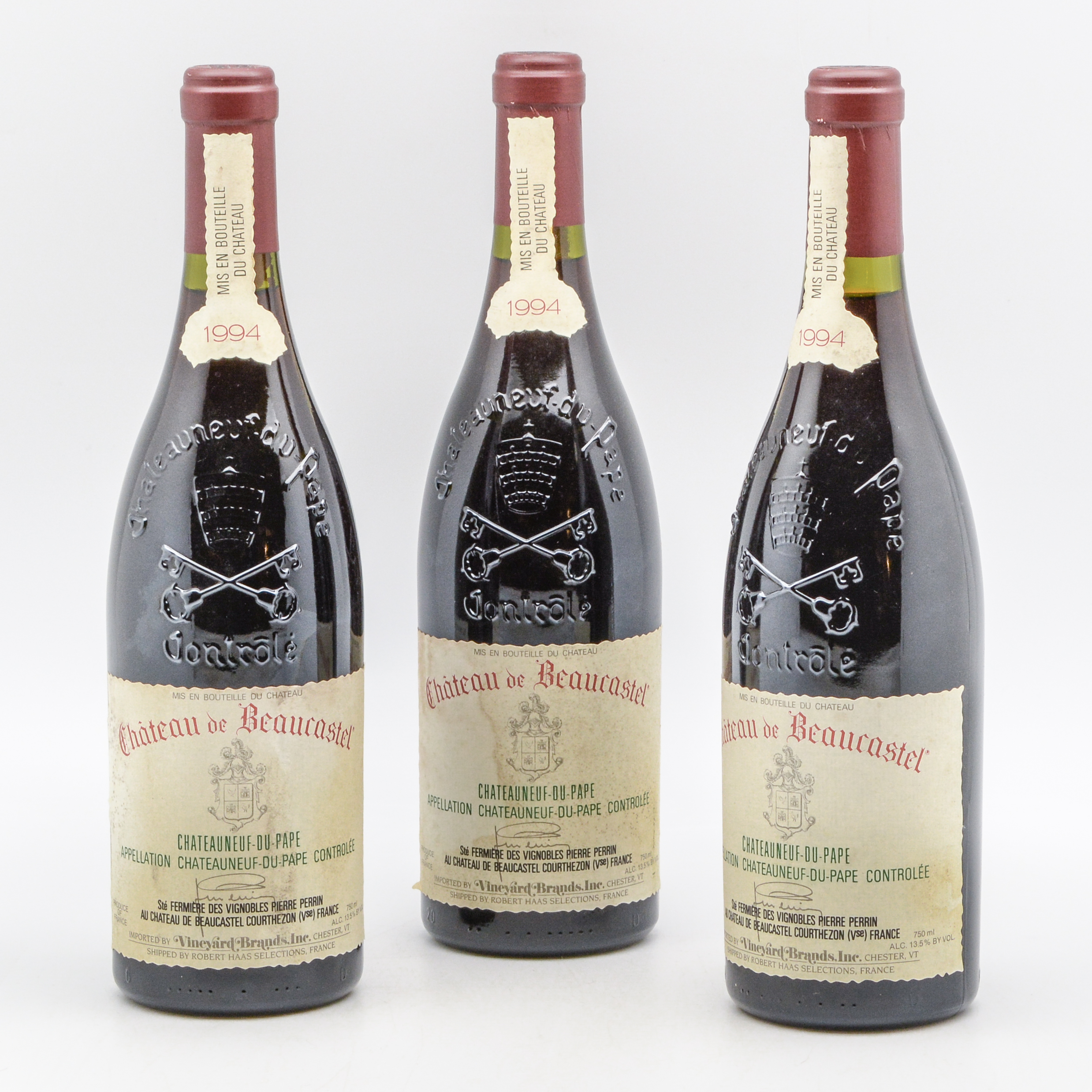 Chateau Beaucastel Chateauneuf du Pape 1994, 3 bottles (Lot 1236, Estimate: $120-180)