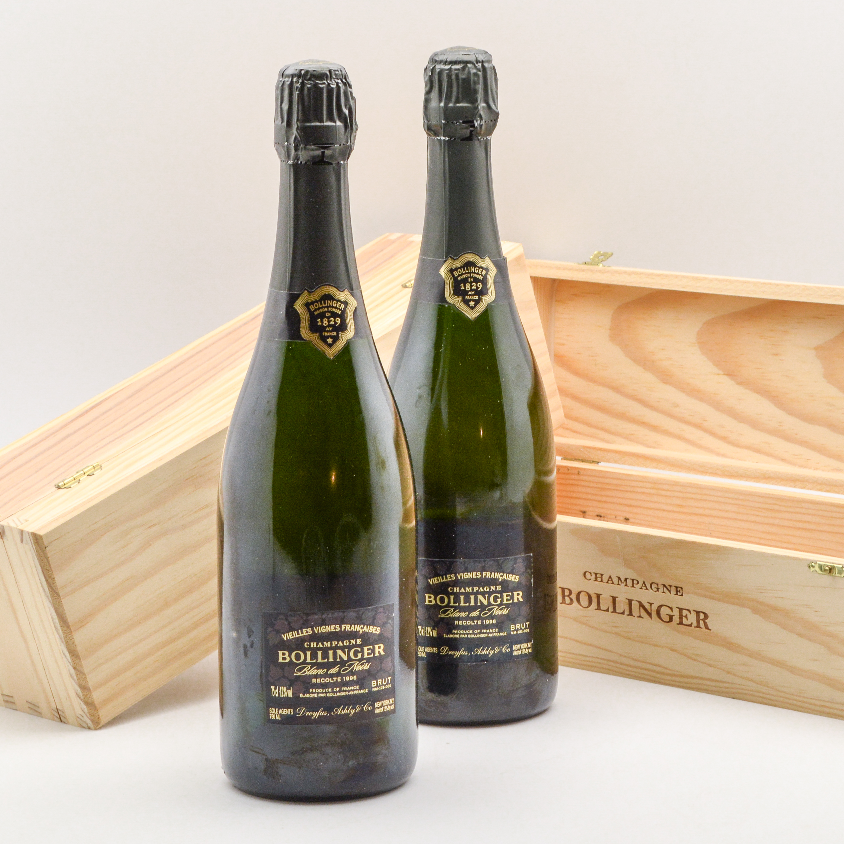 Bollinger Blanc de Noirs 1996, 2 bottles (Lot 1002, Estimate: $2,400-3,250)