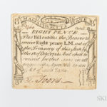 Massachusetts October 18, 1776 8 Pence, MA-226 (Lot 1330, Estimate: $300-500)