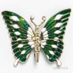14kt Gold, Enameled, Plique-a-jour, and Diamond Articulated Butterfly Brooch (Lot 1013, Estimate: $300-500)
