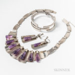 Mexican Sterling Silver and Amethyst Necklace and Earring Set and Sterling Silver Cuff (Lot 1199, Estimate: $300-500)
