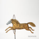 Molded Sheet Copper and Cast Zinc Horse Jumping Through Hoop Weathervane, A.L. Jewell, Waltham, Massachusetts, third quarter 19th century (Lot 868, Estimate: $10,000-$15,000)