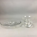Two Steuben and an Orrefors Low Glass Bowls (Lot 1044, Estimate $300-600)