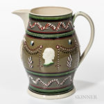 Large Don Carpentier Slip-decorated Pitcher, Eastfield Village, East Nassau, New York, 2003, (Lot 1234, Estimate $800-$1,200)