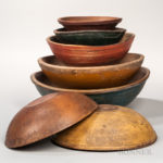 Seven Turned and Painted Wooden Bowls, New England, 19th century, (Lot 1006, Estimate $800-$1,200)