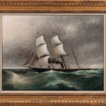 Clement Drew (act. Massachusetts, 1806-1889) Sailing Steamship on Rocky Seas, Oil on canvas (Lot 1252, Estimate $400-$600)