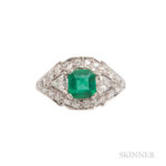 Platinum, Emerald, and Diamond Ring, c. 1950 (Lot 1078, Estimate:  $800-1,200)
