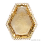 Edwardian Citrine Cameo Cuvette Brooch (Lot 1067, Estimate: $500-700)