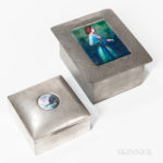 Two Probably Liberty & Co. Enamel and Pewter Boxes (Lot 1112, Estimate: $300-500)