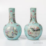 Pair of Famille Rose Turquoise-ground Vases (Lot 186, Estimate: $500-700)