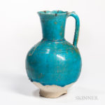 Kashan Turquoise-glazed Ewer (Lot 46, Estimate: $1,000-1,200)