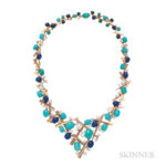 18kt Gold, Turquoise, Lapis, and Diamond Necklace, Marianne Ostier (Lot 149, Estimate: $8,000-12,000)