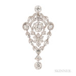 Edwardian Platinum and Diamond Pendant (Lot 55, Estimate: $10,000-12,000)